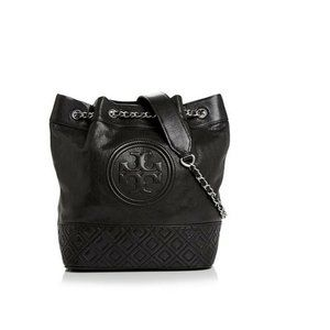 TORY BURCH FLEMING DISTRESSED LEATHER BUCKET BAG